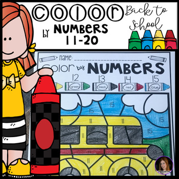 Back to School Color by Code Numbers 11-20 Activities