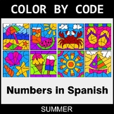 Summer Color by Code - Numbers in Spanish