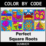 Summer Color by Code - Perfect Square Roots