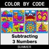 Summer Color by Code - Subtracting 3 Numbers