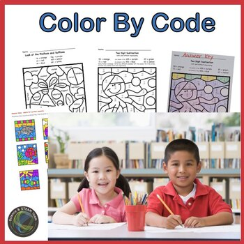 Summer Color by Code for Second Grade Reiview