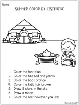 summer color by listening a following directions activity by karly 39 s kinders. Black Bedroom Furniture Sets. Home Design Ideas