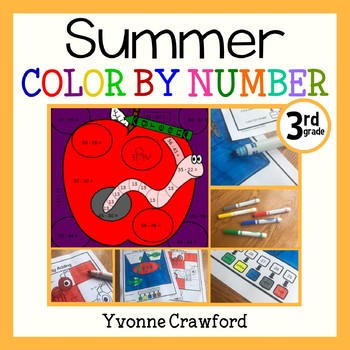 Summer Review Color by Number (3rd Grade)  Color by Multiplication and Rounding