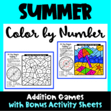 Summer Color by Number Addition Games: Color by Number Summer Math Activities