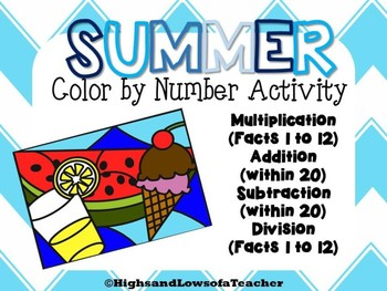 Summer Color by Number (Addition, Subtraction, Multiplication, Division)