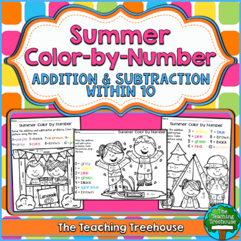 Summer Color by Number, Addition & Subtraction Within 10