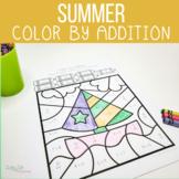 Summer Color by Number Addition Worksheets