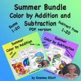 Summer Color by Number Addition and Subtraction Basic Facts Bundle