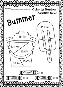 Summer Color by Number: Addition (to 5, 10, 20 & 100)!