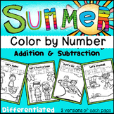 Summer Color by Number- Differentiated (Numbers, Add&Subtr