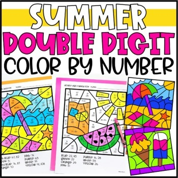 Summer Color by Number Mystery Pictures: Double Digit Addition & Subtraction