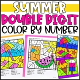 Color by Number Summer Mystery Pictures: Double Digit Addition & Subtraction