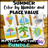 Summer Color by Number and Place Value Mystery Picture BUNDLE