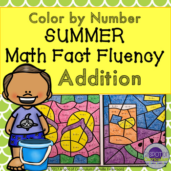 Summer Color by Number for Addition Fact Fluency