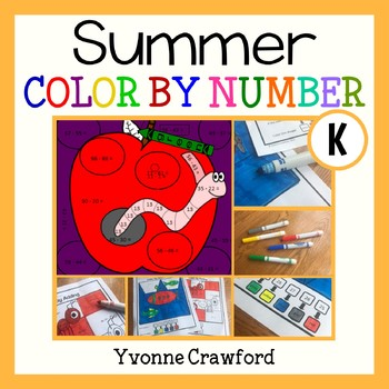 Summer Review Color by Number (kindergarten)  Color by Number and Shapes