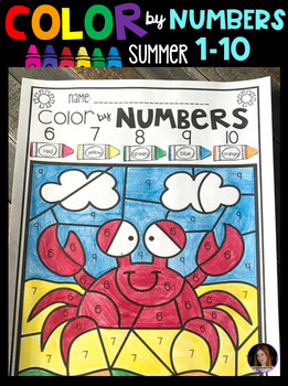 Summer Color by Code Numbers 1-10 Activities