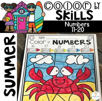 Summer Color by Code Numbers 11-20 Activities by Kindergarten Rocks