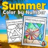 Color by Number Summer Pre-Kindergarten to 1st Grade