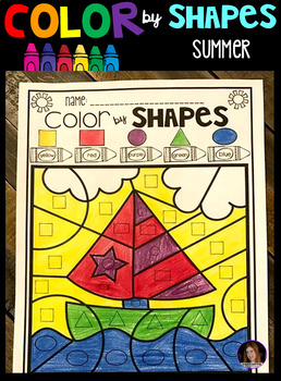 Summer Color by Code Shapes