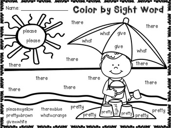 Summer Color by Sight Word