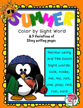 Summer Color by Sight Word Set 3
