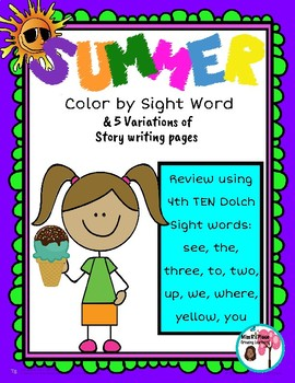 Summer Color by Sight Word Set 4