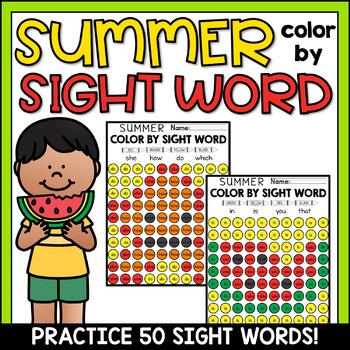 Summer Color by Sight Word Worksheets Kindergarten - 50 Words!