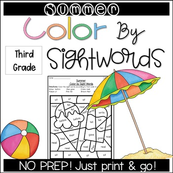 Summer Color by Sight Words (3rd Grade)