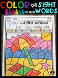 Summer Color by Sight Words Pre-Primer Sight Word Activities