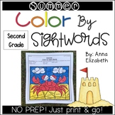 Summer Color by Sight Words (Second Grade)