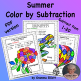 Summer Color by Subtraction Basic Fact Fluency for home an