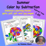 Summer Color by Subtraction Basic Facts Distance Learning Version