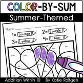 Summer Color-by-Sum Pages for Addition Within 10