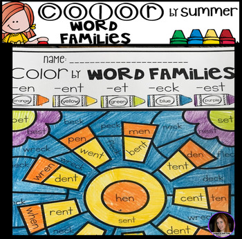 Summer Color by Code Word Families Printables