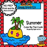 Summer Color by the Code:  NO PREP Beginning Sight Word Ac