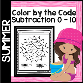 Summer Color by the Code - Subtraction 0 - 10 in English & Spanish