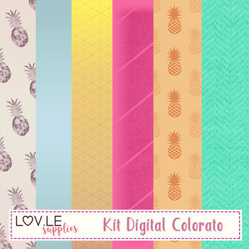 Summer Coloratti Digital Paper Pack Freebie Commercial Use