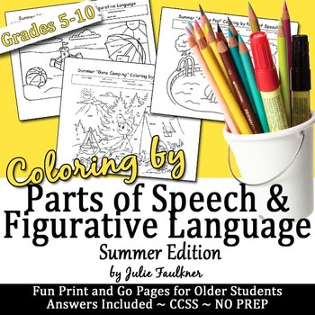 End of Year Summer Grammar & Figurative Language Activity, Coloring for Teens