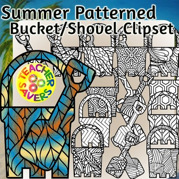Summer Coloring Clip Art Set Commercial and Personal Use