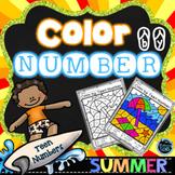 Summer Coloring   Color by Number Summer   Teen Numbers Kindergarten