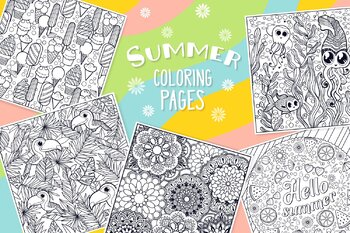 Summer Coloring Journal- Summer Mandalas and Journaling Lined Pages