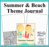 Summer and Beach Theme Coloring Journal- Summer Adventures Journal to Write In