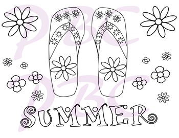 Summer Coloring Page Flip Flop Fun