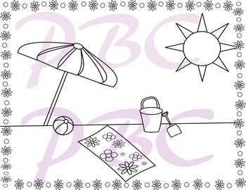 Summer Coloring Page Fun on the Beach