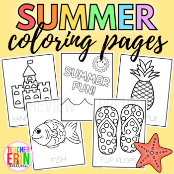 Summer Coloring Pages 20 Sheets Beach Summer Fun Simple Easy Doodle