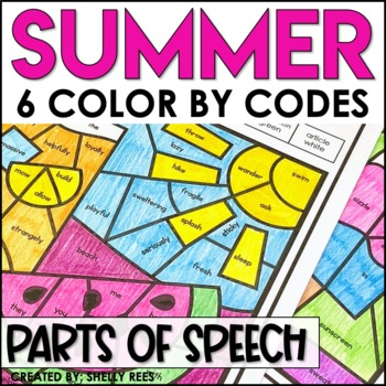 Summer Coloring Pages Parts of Speech Color by Number - End of the Year Activity