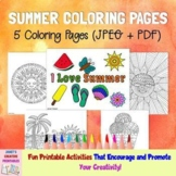 Summer Coloring Pages - Set of 5 - Commercial Use Allowed
