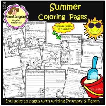 Summer Coloring Pages and Writing Prompts / Papers(School Designhcf)