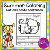 No Prep Summer Coloring Pages with Cut an Paste Sentences