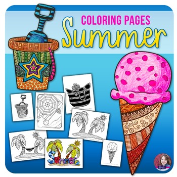 Summer Doodle Coloring Sheets